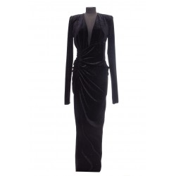 ALEXANDER VAUTHIER LONG DRESS V NECK VELVET ML