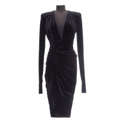 ALEXANDER VAUTHIER SHORT DRESS V NECK VELVET ML