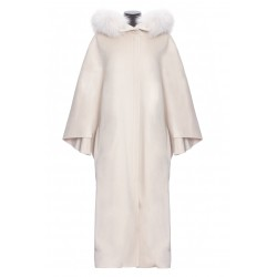 YVES SALOMON HOODED CASHMERE CAPE WITH FOX COLLAR