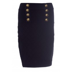 BALMAIN HIGH WAIST SKIRT 6 BUTTONS MESH