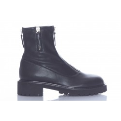 GIUSEPPE ZANOTTI FLAT BOOTS ZIP LEATHER STRETCH ZIP MIDDLE