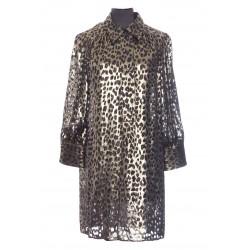 SAINT LAURENT LEOPARD BLADE SHIRT DRESS