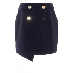 BALMAIN 4 BUTTON VELVET SKIRT
