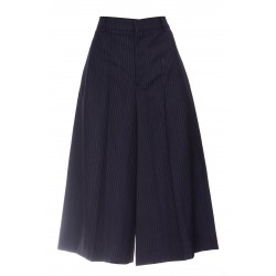 CELINE STRIPED WOOL CANVAS CULOTTE SKIRT