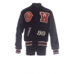 OFF-WHITE VARSITY BOMBER MANCHES CUIR BACK