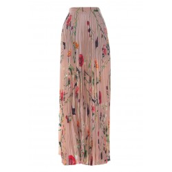 VALENTINO CREPE DE CHINE PLEATED SKIRT WITH PRINT