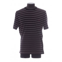 SAINT LAURENT STRIPED MONOGRAM T-SHIRT IN JERSEY