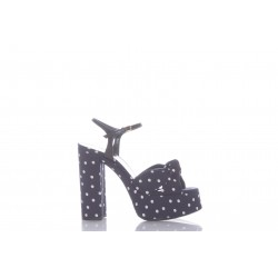 SAINT LAURENT BIANCA SANDALS IN POLKA-DOT CANVAS AND SMOOTH LEATHER