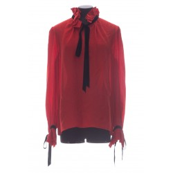 SAINT LAURENT GATHERED BLOUSE IN SILK CASHMERE JACQUARD WITH TIES