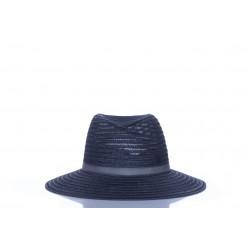 MAISON MICHEL VIRGINIE BLACK HEMP STRAW FEDORA HAT
