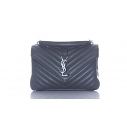SAINT LAURENT COLLEGE MEDIUM CHAIN BAG MATT COLD LEATHER QUILTED NEW MATERIAL SILVER FINISHES