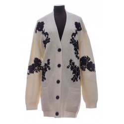 VALENTINO CASHMERE WOOL AND LACE CARDIGAN