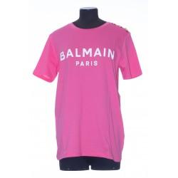 BALMAIN PINK COTTON T-SHIRT WITH WHITE BALMAIN LOGO PRINT
