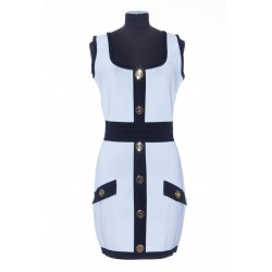 BALMAIN SHORT WHITE AND BLACK VISCOSE DRESS WITH EMBOSSED BUTTONS