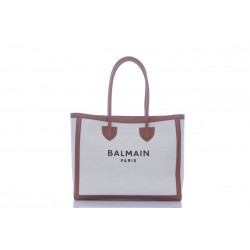 BALMAIN ECRU CANVAS B-ARMY 42 TOTE BAG WITH BROWN LEATHER PANELS