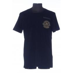 BALMAIN BLACK COTTON T-SHIRT WITH EMBROIDERED BALMAIN BADGE
