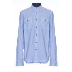BALMAIN WHITE COTTON SHIRT WITH BLUE PINSTRIPES