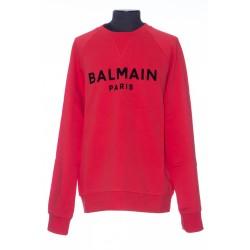 BALMAIN RED COTTON SWEATSHIRT WITH BLACK VELVET BALMAIN LOGO