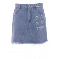 GIVENCHY DESTROYED MINI SKIRT IN DENIM