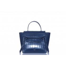 CELINE NANO BELT BAG IN CROCODILE EMBOSSED CALFSKIN NAVY BLUE