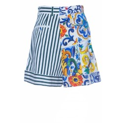 DOLCE & GABBANA PATCHWORK PIQUÉ AND DRILL SHORTS