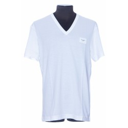 DOLCE & GABBANA COTTON V-NECK T-SHIRT WITH BRANDED PLATE