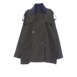 LOEWE LEATHER COLLAR MILITARY PARKA IN COTTON