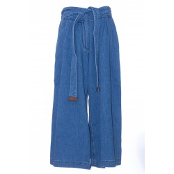 LOEWE CROPPED BELTED JEANS COTTON