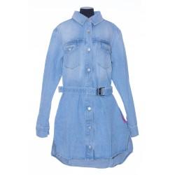 OFF WHITE ARROW DENIM SHIRT DRESS LIGHT BLUE