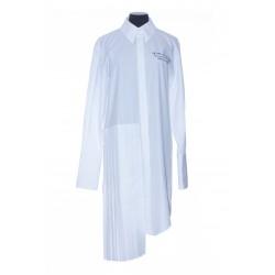 OFF WHITE POPELINE PLISSE SHIRT DRESS