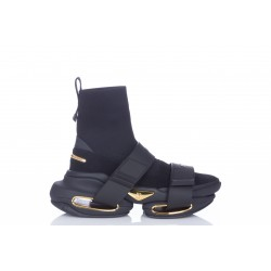 BALMAIN BLACK HIGH-TOP SUEDE AND KNIT BBOLD SNEAKERS WITH STRAP