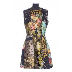 DOLCE & GABBANA SHORT PATCHWORK VELVET JACQUARD DRESS