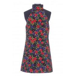 SAINT LAURENT RETRO FLOWER QUILTED DRESS IN VISCOSE AND COTTON