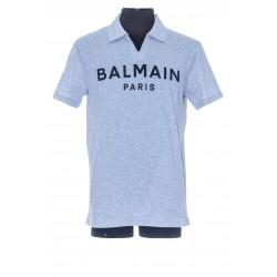 BALMAIN PRINTED POLO COLLAR T-SHIRT
