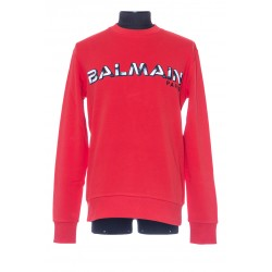 BALMAIN RED COTTON SWEATSHIRT WITH WHITE BALMAIN PARIS LOGO PRINT