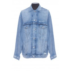 BALENCIAGA BARCODE LARGE FIT JACKET IN BLUE