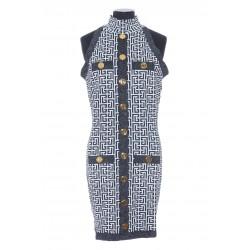 BALMAIN SHORT BUTTONED GLITTER DRESS