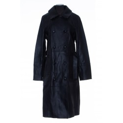 YVES SALOMON SILHOUETTE COAT IN BURNISHED LEATHER