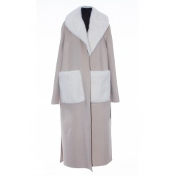 YVES SALOMON BELTED CASHMERE WOOL COAT