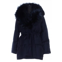 YVES SALOMON BELTED FLANNEL DOWN JACKET