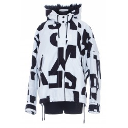 YVES SALOMON CROPPED PARKA IN PRINTED ECO-FABRIC,