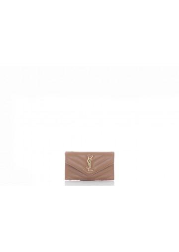 SAINT LAURENT MONOGRAMME SAINT  LAURENT MATELASSE CREDIT CARD CASE  WITH FLAP  ZIPPED