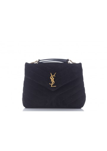SAINT LAURENT LOULOU SMALL LOULOU CHAIN BAG SUEDE SOFTY MATELASSE Y + CUIR GOYA (LIGHT BRONZE)