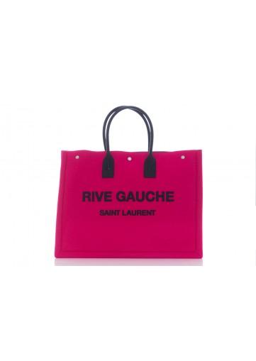 SAINT LAURENT RIVE GAUCHE TOTE BAG RIVE GAUCHE FEUTRE + BRODERIE RIVE GAUCHE + CUIR LEGER  (NICKEL OXYDE)