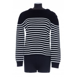 SAINT LAURENT PULL COL MONTANT  BOU MAILLE MARIN RAYEE
