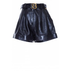 BALMAIN BELTED LEATHER SHORT